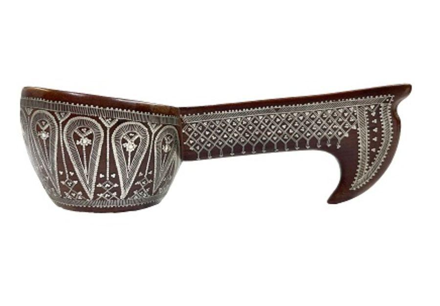 19th Century Ottoman Afyon Work Silver Inlay Sufi Dervish Spoon