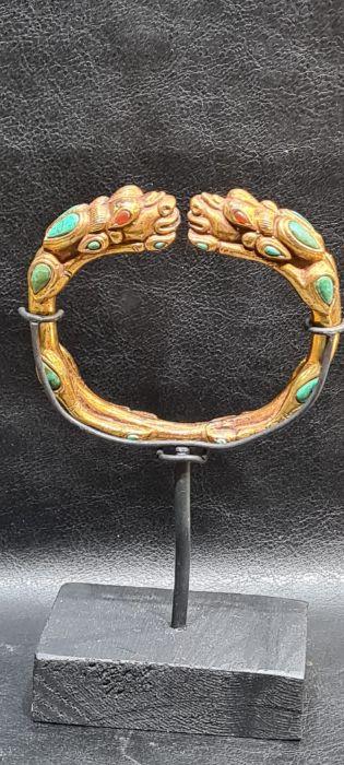 Chinese Tibetan Gold Gilt Dragon Bangle With Semi Precious Stones - Image 7 of 7