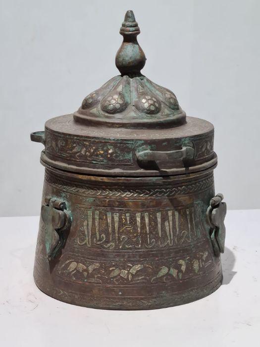 Islamic Bronze & Silver Inlay Jewellery Box - Image 2 of 7