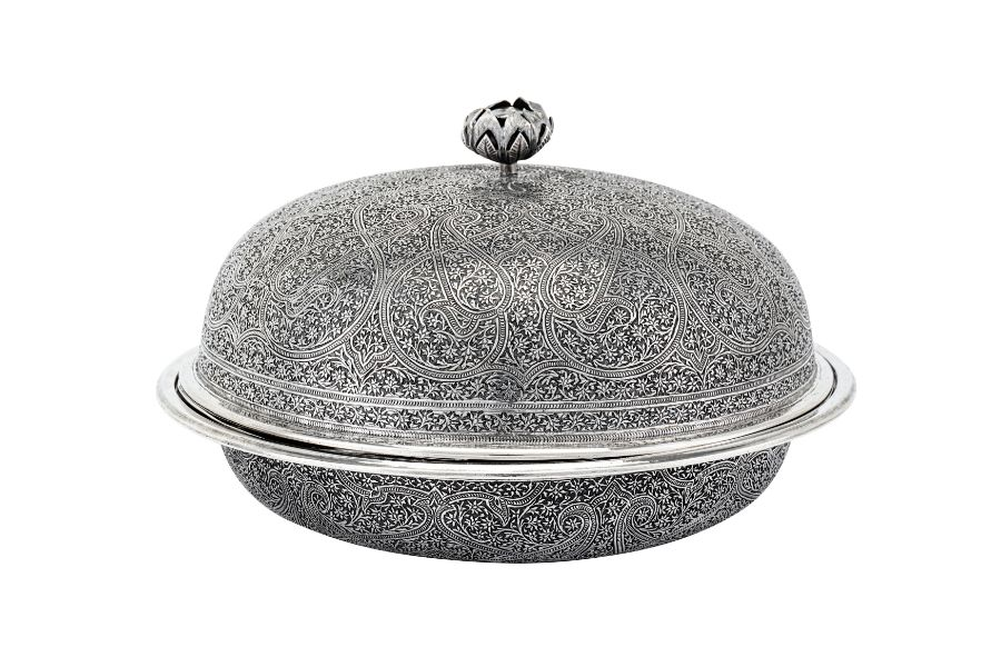 An early 20th century Anglo – Indian Raj unmarked silver muffin dish, Kashmir circa 1920