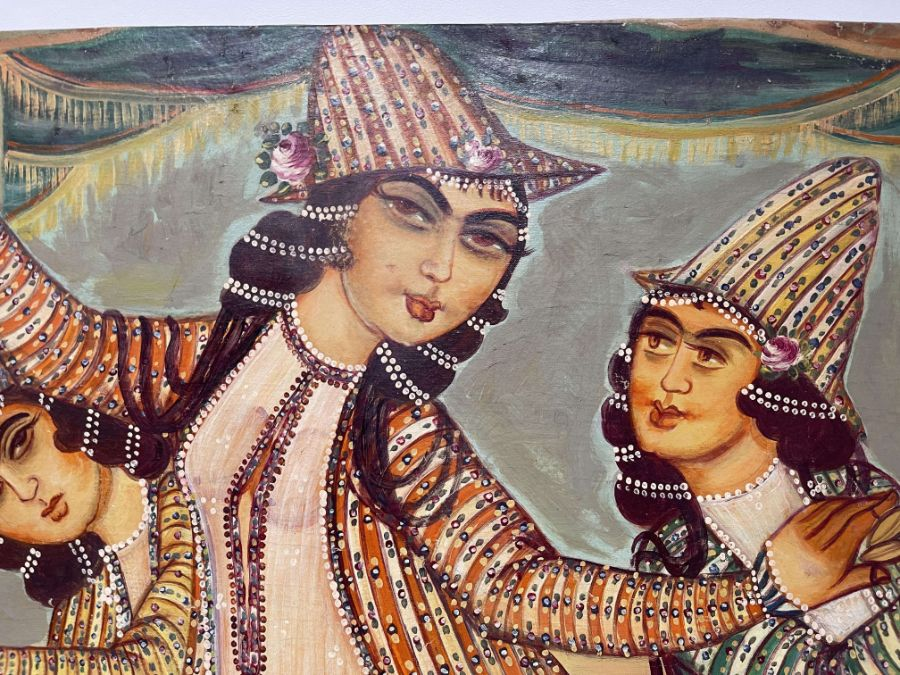 Large Hand painted late 20th century pictures of court dancers in the style of Qajar - Image 9 of 10