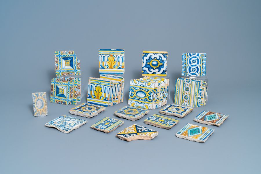 A collection of 34 Spanish tiles, 17th Century