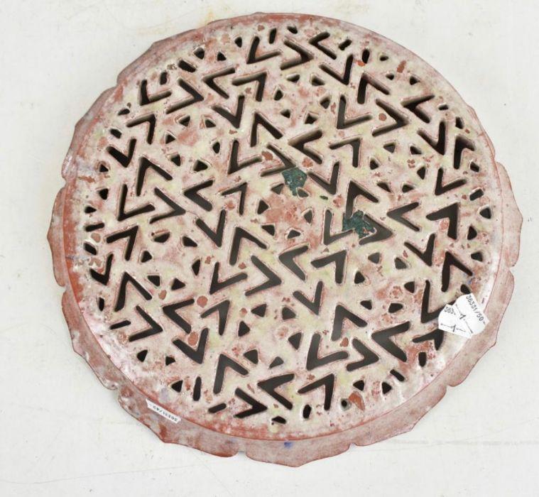 19th Century Turkish Iznik Style Earthenware Cobalt Glazed Reticulated Platter - Image 3 of 3