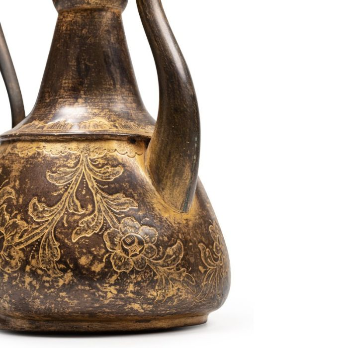An Ottoman gilt-copper (tombak) lidded ewer, with associated basin and filter, Turkey, 18th century - Image 2 of 7