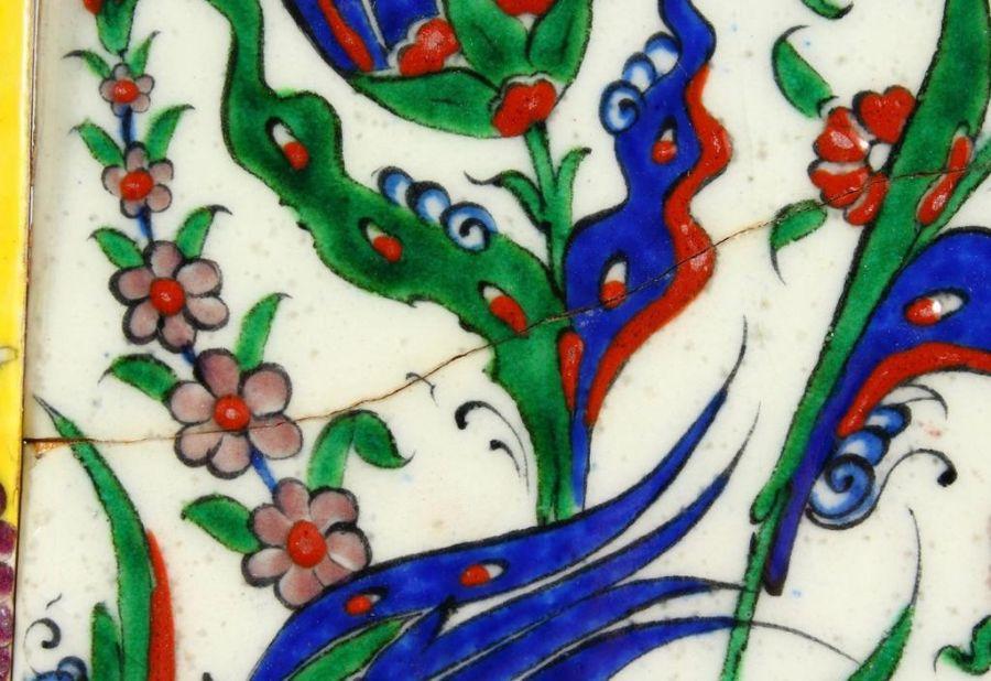 Two Turkish Ottoman Iznik Islamic Painted Pottery Tiles - Image 7 of 7