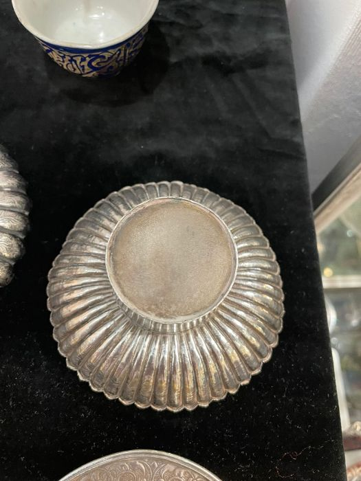 Early Chinese Tibetan Silver Dishes Golden & Silver Inlay - Image 9 of 16