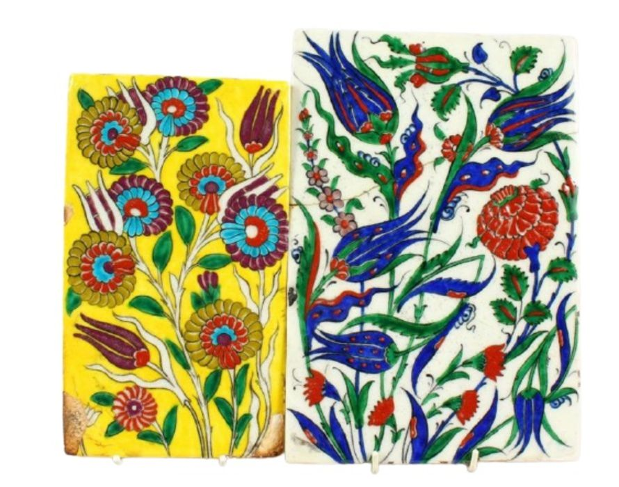 Two Turkish Ottoman Iznik Islamic Painted Pottery Tiles