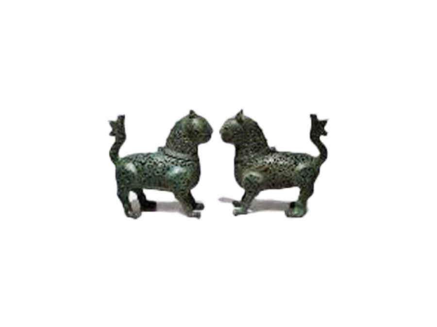 Pair Of Islamic Bronze Reticulated Incense Burners