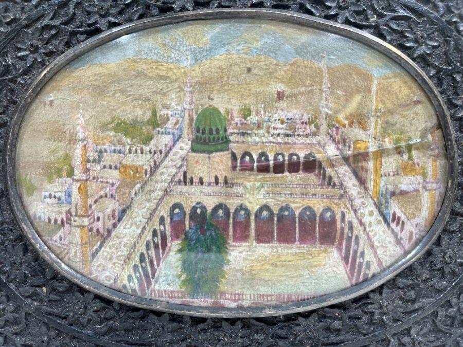 19th Century Ivorine Miniature In Indian Wooden Frames Depicting Medina - Image 2 of 2