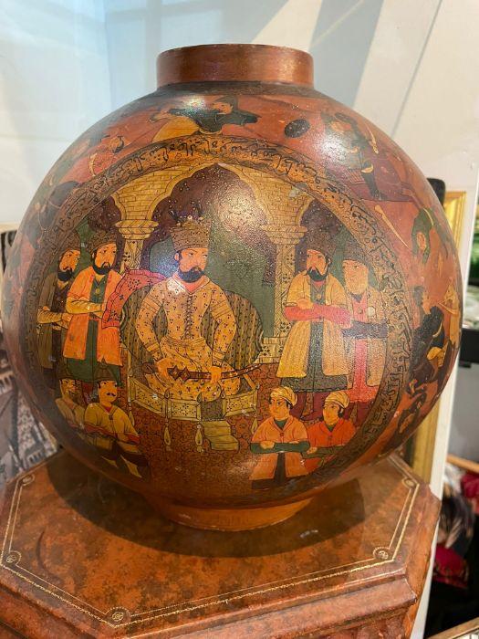 19th Century Paper mache Persian Qajar Vase Painted Scenes & Calligraphy - Image 5 of 7
