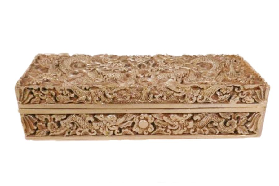 A Chinese White Metal Scribe Box With Dragon & Flaming Pearl Decorated With Impressed Mark