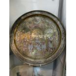 """important Islamic 19th century Silver Inlay Gilt Platter Story Of """"Moses and Aaron"""""""