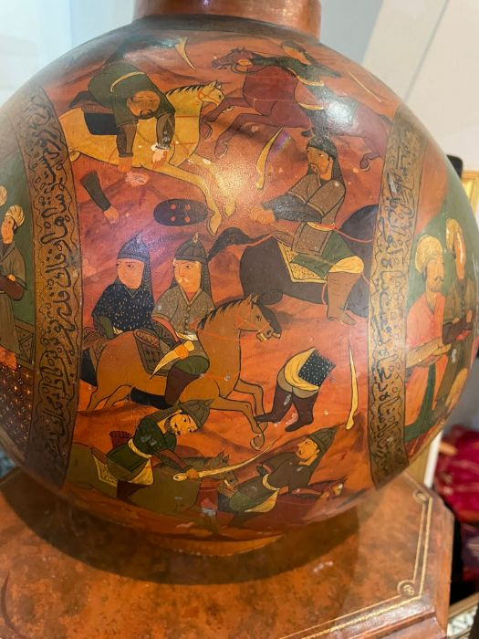 19th Century Paper mache Persian Qajar Vase Painted Scenes & Calligraphy - Image 4 of 7