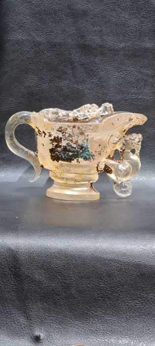 Rare Chinese Rock Crystal/Glass Libation Cup - Image 7 of 9