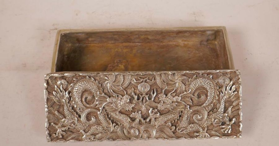 A Chinese White Metal Scribe Box With Dragon & Flaming Pearl Decorated With Impressed Mark - Image 3 of 4