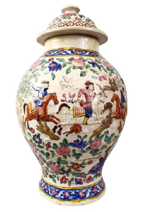 Large 18th Century Zandiyeh Pottery JAR & cover