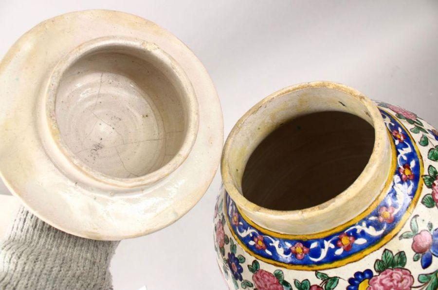 Large 18th Century Zandiyeh Pottery JAR & cover - Image 2 of 6