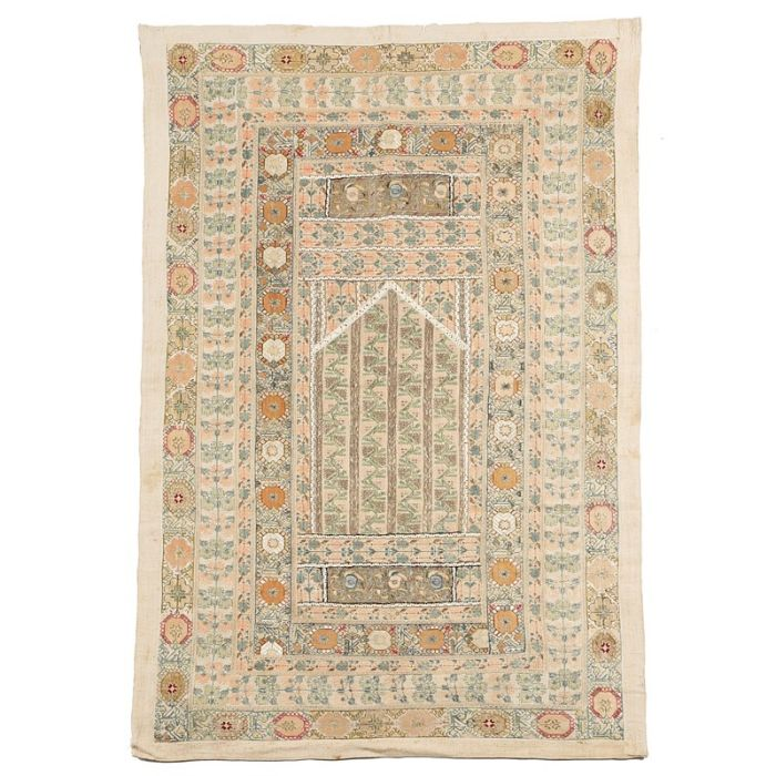 A COMPOSITE PRAYER HANGING 18TH CENTURY ELEMENTS made from various Greek embroidered strips