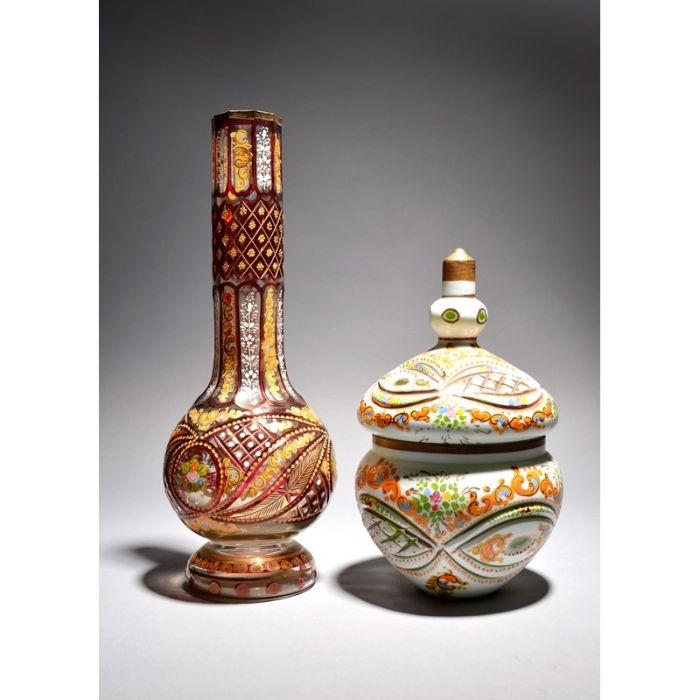 A Bohemian glass vase and cover for the Ottoman market 19th/20th century