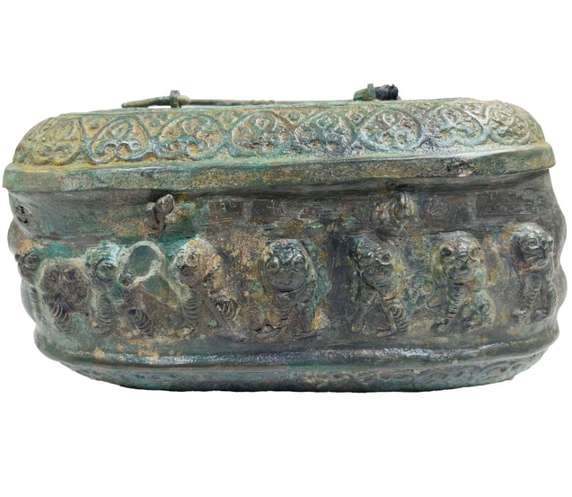 Ghaznavid Bronze Islamic 12th Century Box With Lion & Calligraphic Inscriptions