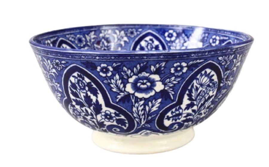 19th Century Persian Qajar Blue & White Porcelain Bowl