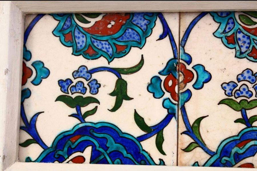 Three Framed Turkish Ottoman Iznik Pottery Tiles With Floral Patterns - Image 2 of 3