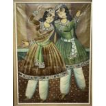 Large Hand painted late 20th century pictures of court dancers in the style of Qajar