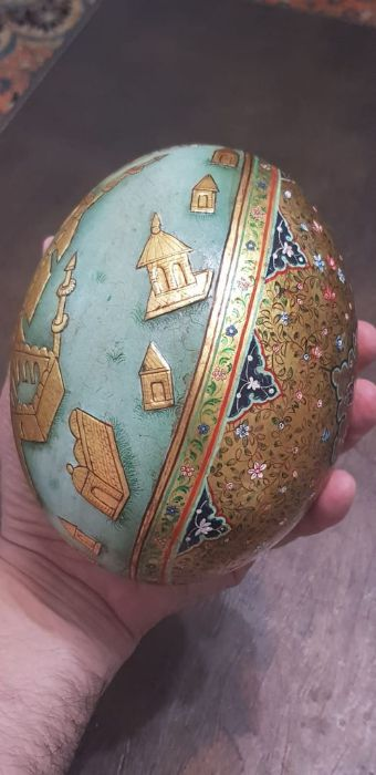 19th Century Indian Ostrich Egg Painted With Scenes Mecca Gold Gilt - Image 5 of 5