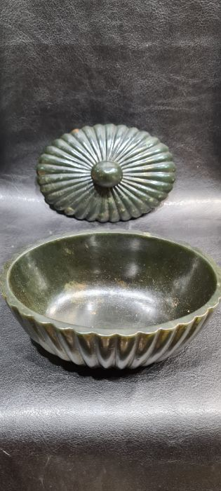 Indian Mughal Spinach Jade Ribbed Bowl - Image 4 of 7