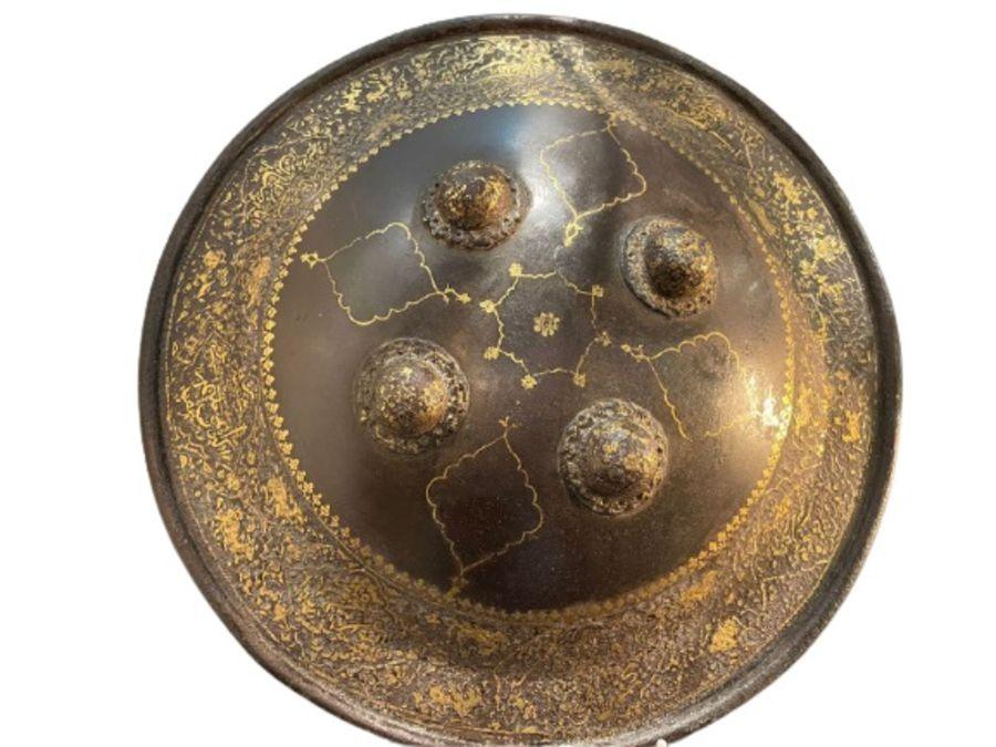 A QAJAR GOLD-DAMASCENED STEEL SHIELD (SIPAR) PERSIA, 19TH CENTURY