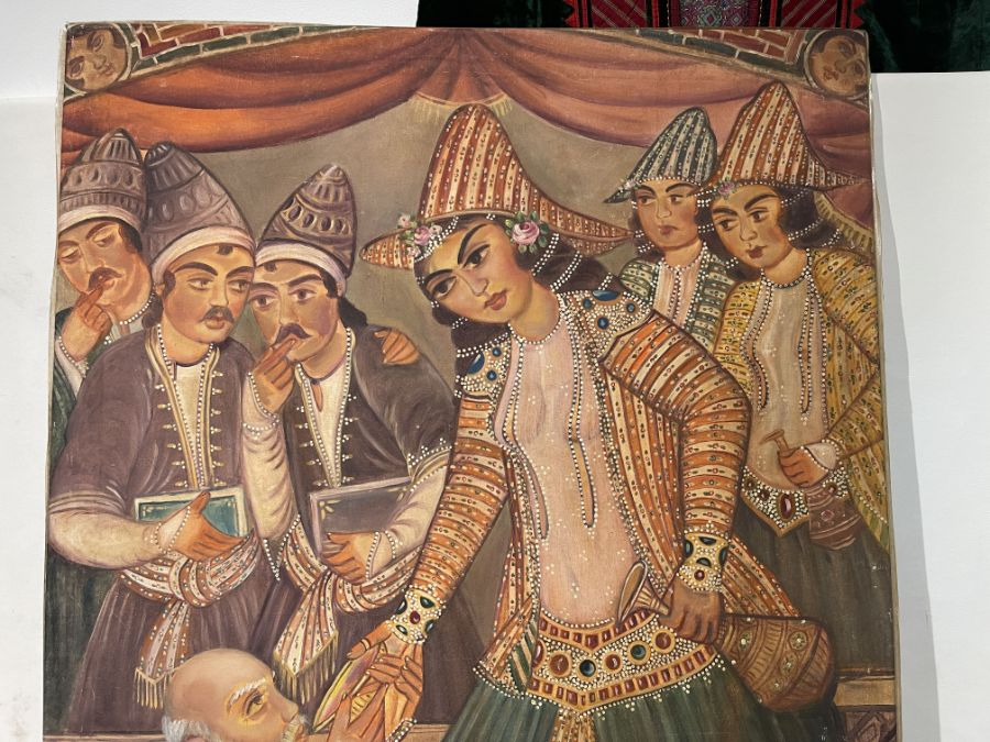 Large Hand painted late 20th century pictures of court dancers in the style of Qajar - Image 8 of 8