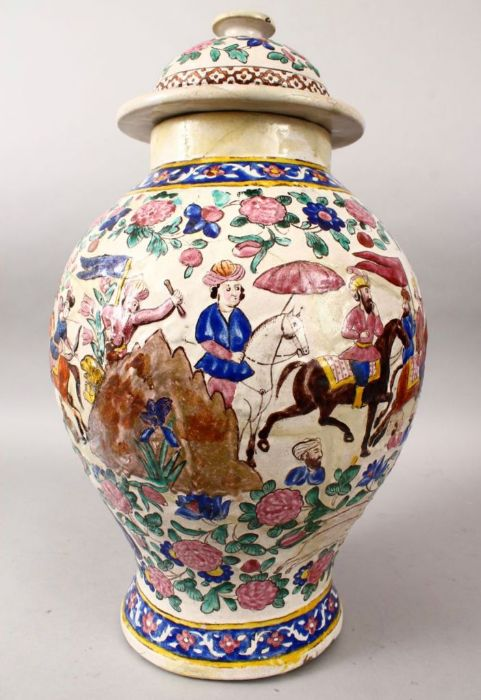 Large 18th Century Zandiyeh Pottery JAR & cover - Image 3 of 6