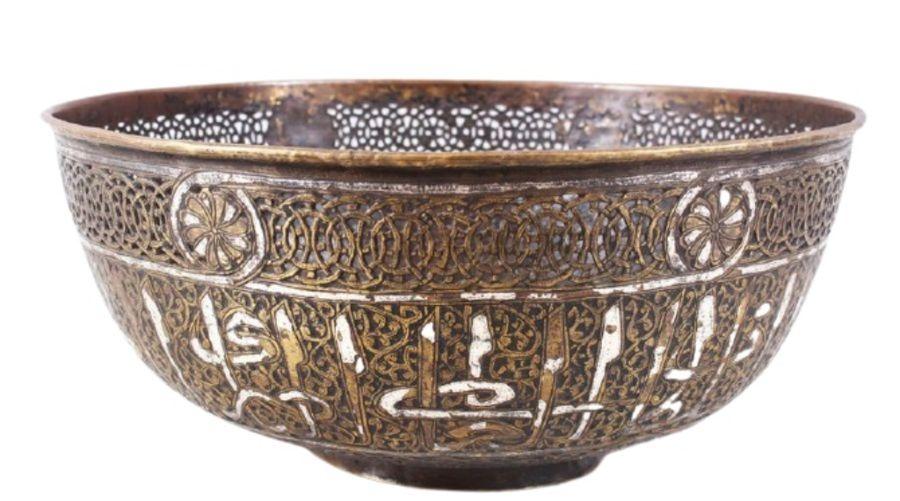 Large 18th/19th Century Silver Inlay Brass Mamluk Revival Bowl