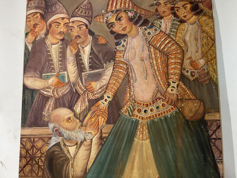 Large Hand painted late 20th century pictures of court dancers in the style of Qajar - Image 7 of 8
