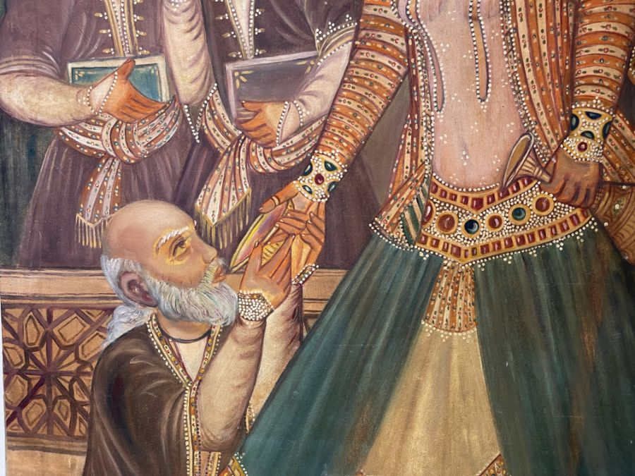 Large Hand painted late 20th century pictures of court dancers in the style of Qajar - Image 4 of 8