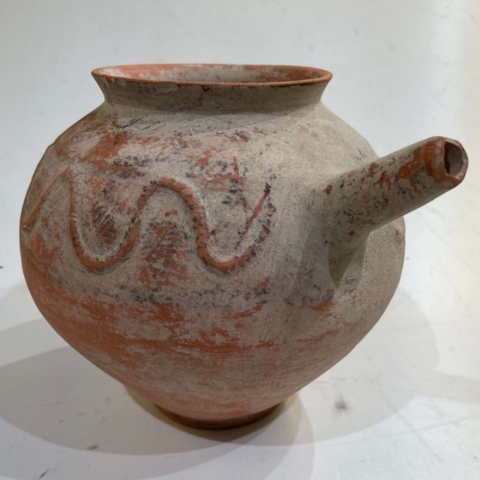 Clay water jar with serpent motive around its rim , Bactrian period 1st millennium BC - Image 6 of 6