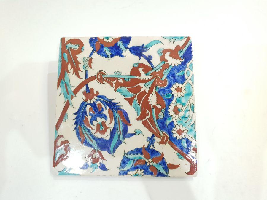 19th Century Ottoman Ceramic Tile Possibly Kuthaya - Image 4 of 5