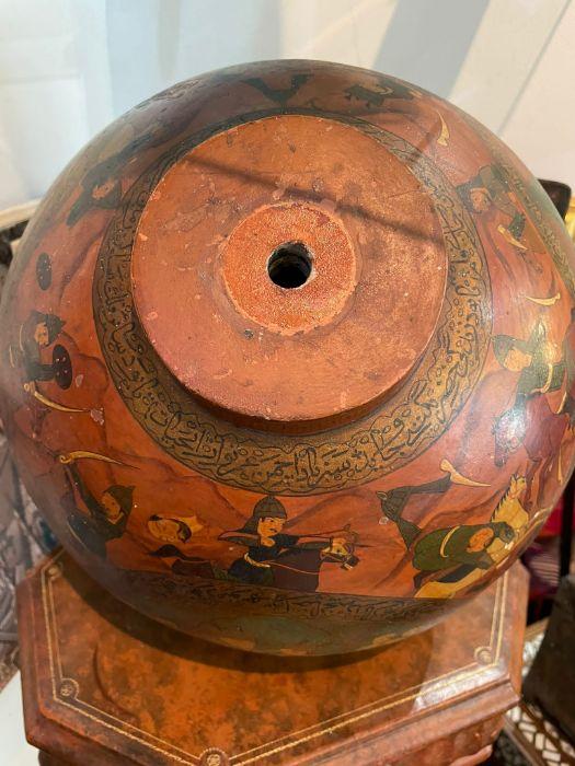 19th Century Paper mache Persian Qajar Vase Painted Scenes & Calligraphy - Image 3 of 7