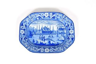 A Don Pottery blue and white transferware charger 1st half 19th century