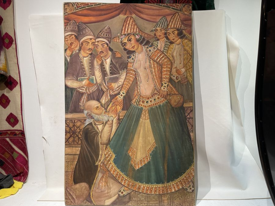 Large Hand painted late 20th century pictures of court dancers in the style of Qajar - Image 6 of 8