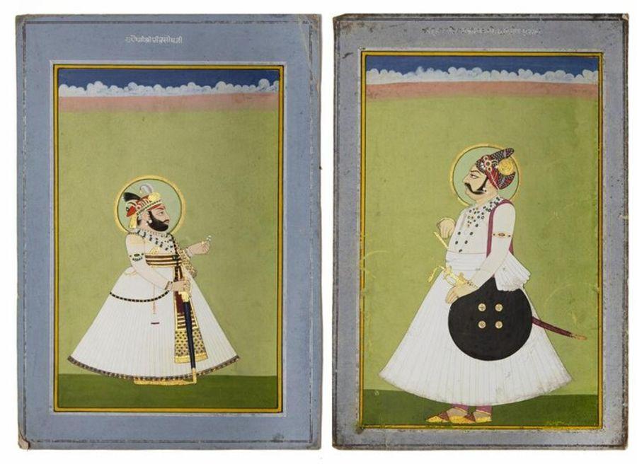 TWO PORTRAITS OF MAHARAJA BHIM SINGH OF DEVGARH AND MAHARAJA OF JODHPUR, 19TH CENTURY