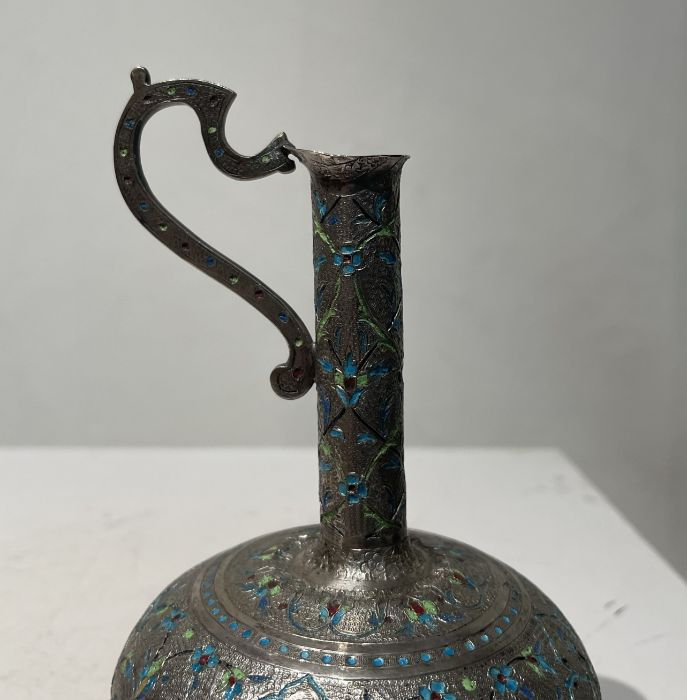 Persian Silver Unusual Enamelled Jug - Image 5 of 7