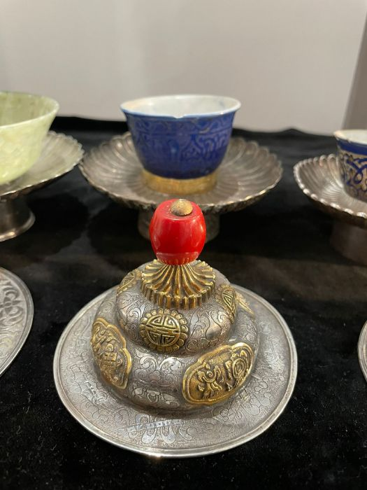 Early Chinese Tibetan Silver Dishes Golden & Silver Inlay - Image 7 of 16