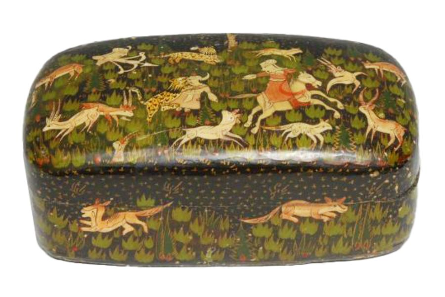 An Indian papier mache Pen Box & Cover Painted With Hunting Scenes In Persian Taste