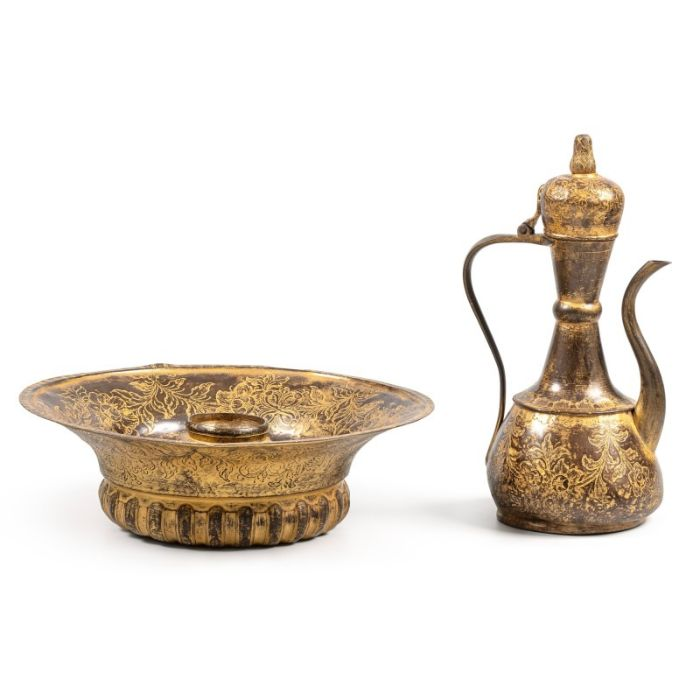 An Ottoman gilt-copper (tombak) lidded ewer, with associated basin and filter, Turkey, 18th century - Image 7 of 7