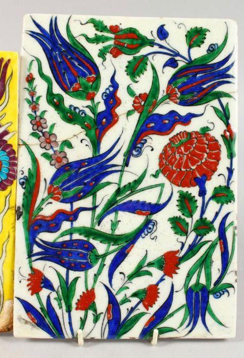 Two Turkish Ottoman Iznik Islamic Painted Pottery Tiles - Image 2 of 7