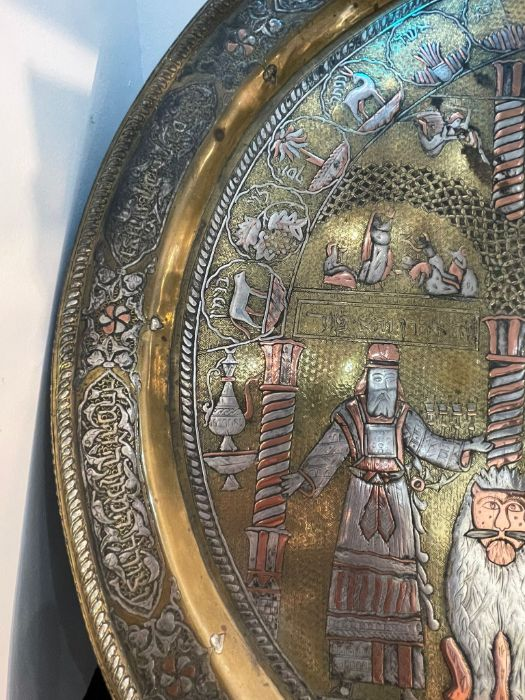 """important Islamic 19th century Silver Inlay Gilt Platter Story Of """"Moses and Aaron"""" - Image 4 of 13"""