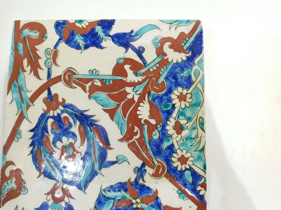 19th Century Ottoman Ceramic Tile Possibly Kuthaya - Image 5 of 5
