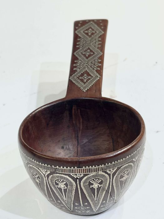 19th Century Ottoman Afyon Work Silver Inlay Sufi Dervish Spoon - Image 3 of 4