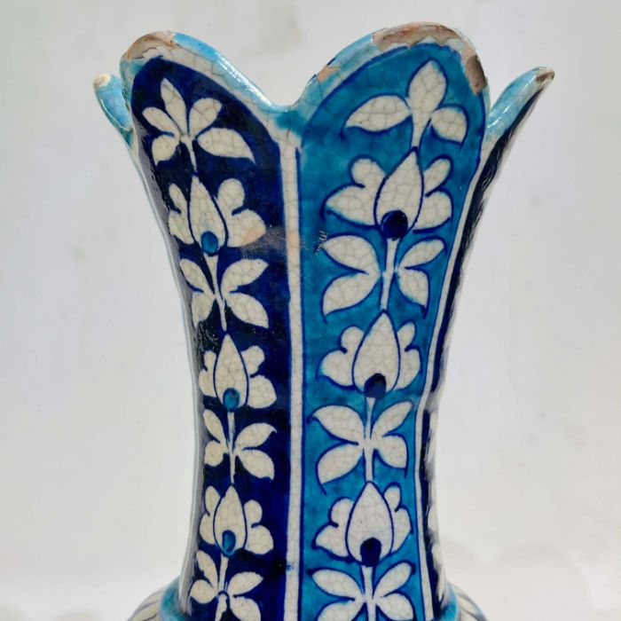 Multan Pottery Vase 19th Century Decorated In Shades Of Blue Iznik Style - Image 3 of 7